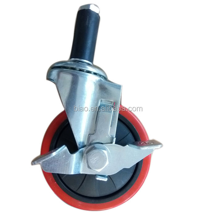 "Load Rating 100KG Castor Wheel 4"" Expansion Type Swivel Side Brake"