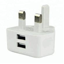 Wit CE <span class=keywords><strong>RoHS</strong></span> Goedgekeurd UK Mobiele <span class=keywords><strong>Lader</strong></span>, UK Plug 3 Pin Charger USB Adapter