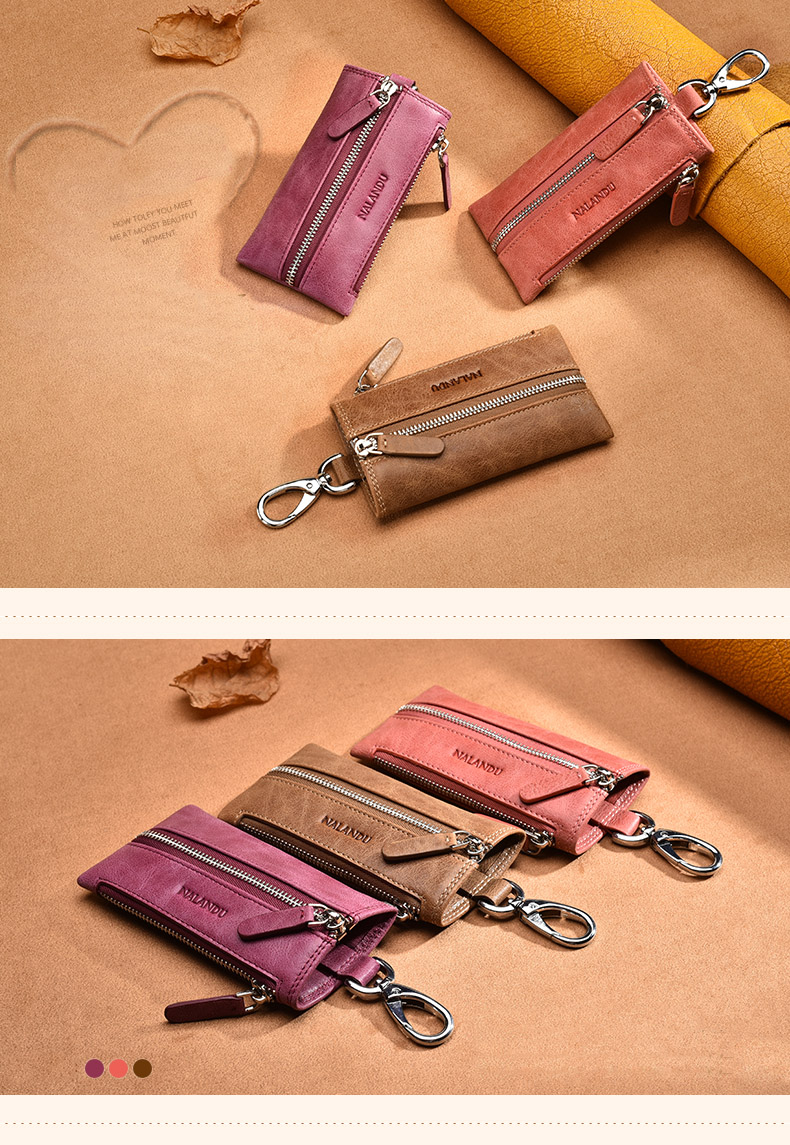 Famous car genuine top cow leather key chain high quality bag
