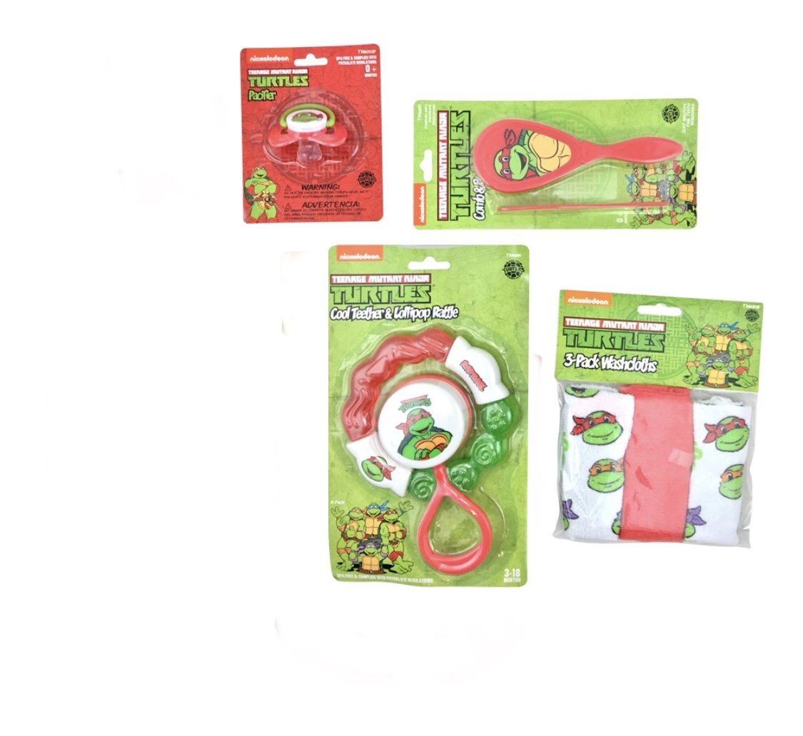 Ninja Turtles Complete Newborn Baby 8 Pieces Accessory Set For Boys or Girls,Perfect Gift Idea for Baby Shower ,Birthday,Newborn or Any Other Occasion (Ninja Turtles Red)