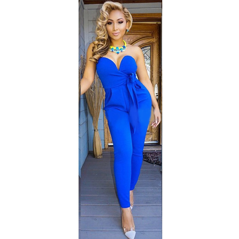 4552f87c0c02 Plus Size Deep V Neck Monos Cortos De Mujer Sexy Bow Decoration Strapless  Women Jumpsuit Elegant