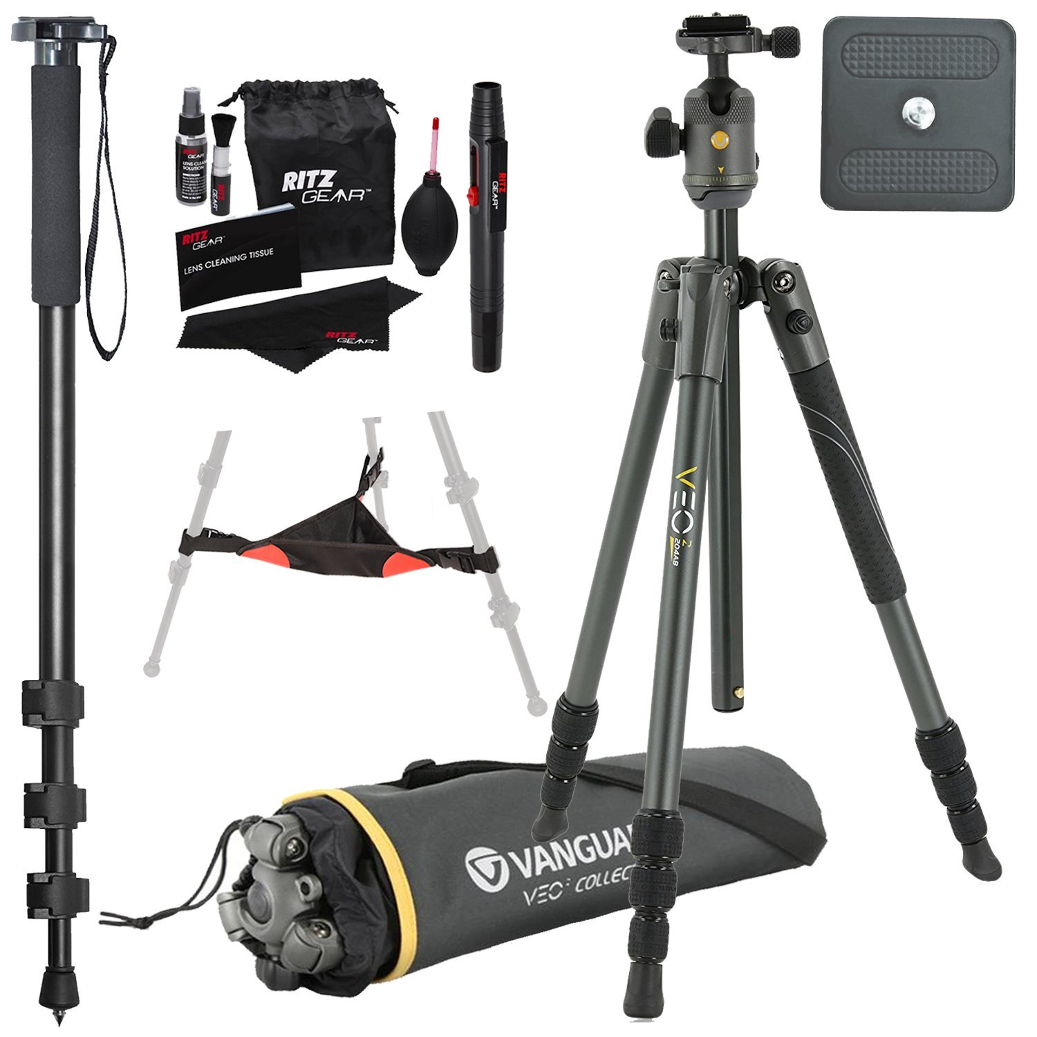 Vanguard VEO 2 204AB Black Aluminum Tripod with VEO 2 BH-45 Ball Head, Ritz Gear Tripod Stone Bag, 72-Inch Monopod with Quick Release and Ritz Gear Cleaning Kit