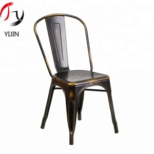 Vintage type cast iron chair wood chair for balcony cafe restaurant