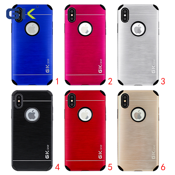 [GK] Anti-shock Armor Metal+TPU 2 in 1 Combo Case For iPhone X Mobile Phone Accessories