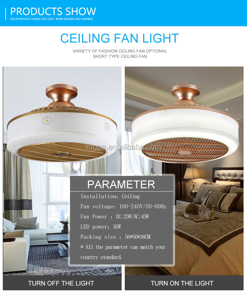 Hot sale 220v 45W indoor 3 blades led light ceiling fan