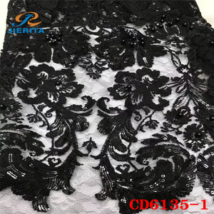 CD6135-1 wholesale quality black net lace embroidery lace fabric with holes for school party