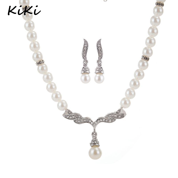 >>>Crystals Angel Wings Simulated Pearl Beads Jewelry Sets Bridal Wedding Choker Pendants Necklaces Earrings Sets