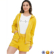 wholesale OEM yellow zipper up Distressed Pocket Hooded varsity jacket/hoodies and shorts women two pieces sets