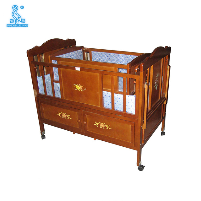 New Designs Fabric Solid Wooden Folding Baby Cot Bed