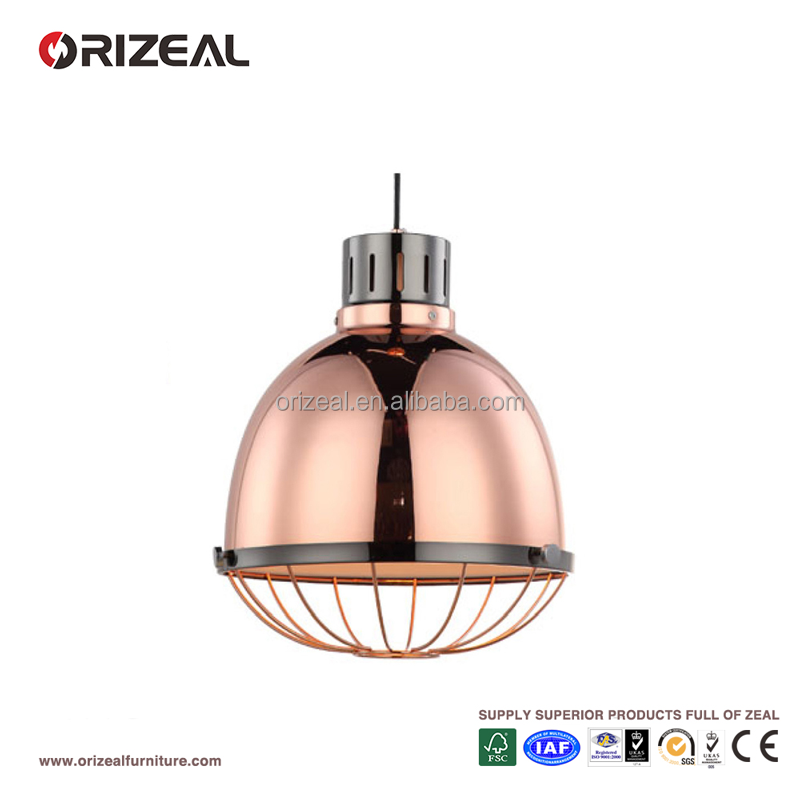 Retro Industrial Antique 1 Light Hanging Pendant Lamp Loft Light rose gold Metal Dome Shade