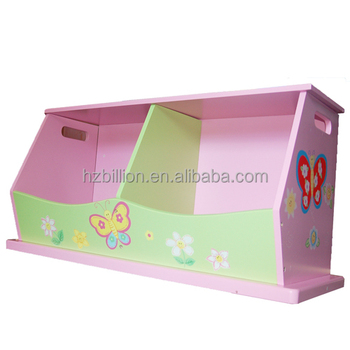 New Girlsu0027 Wooden Hand Painted Pink Flower Double Stacking Toy Storage Box  Bench Kids Furniture