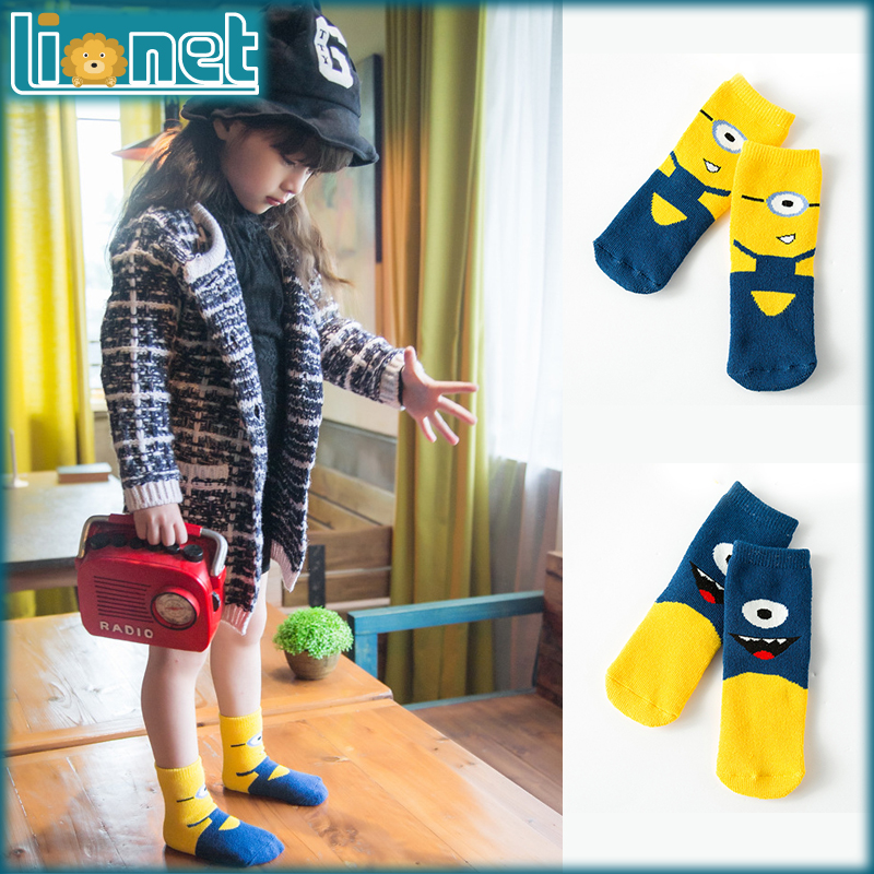 Winter New Pegman Minions Cartoon Cotton Towel Socks Big Eye Baby Socks Cartoon Cute Girls Boys