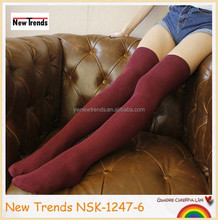 Burgundy solid color unpatterned knee high stockings