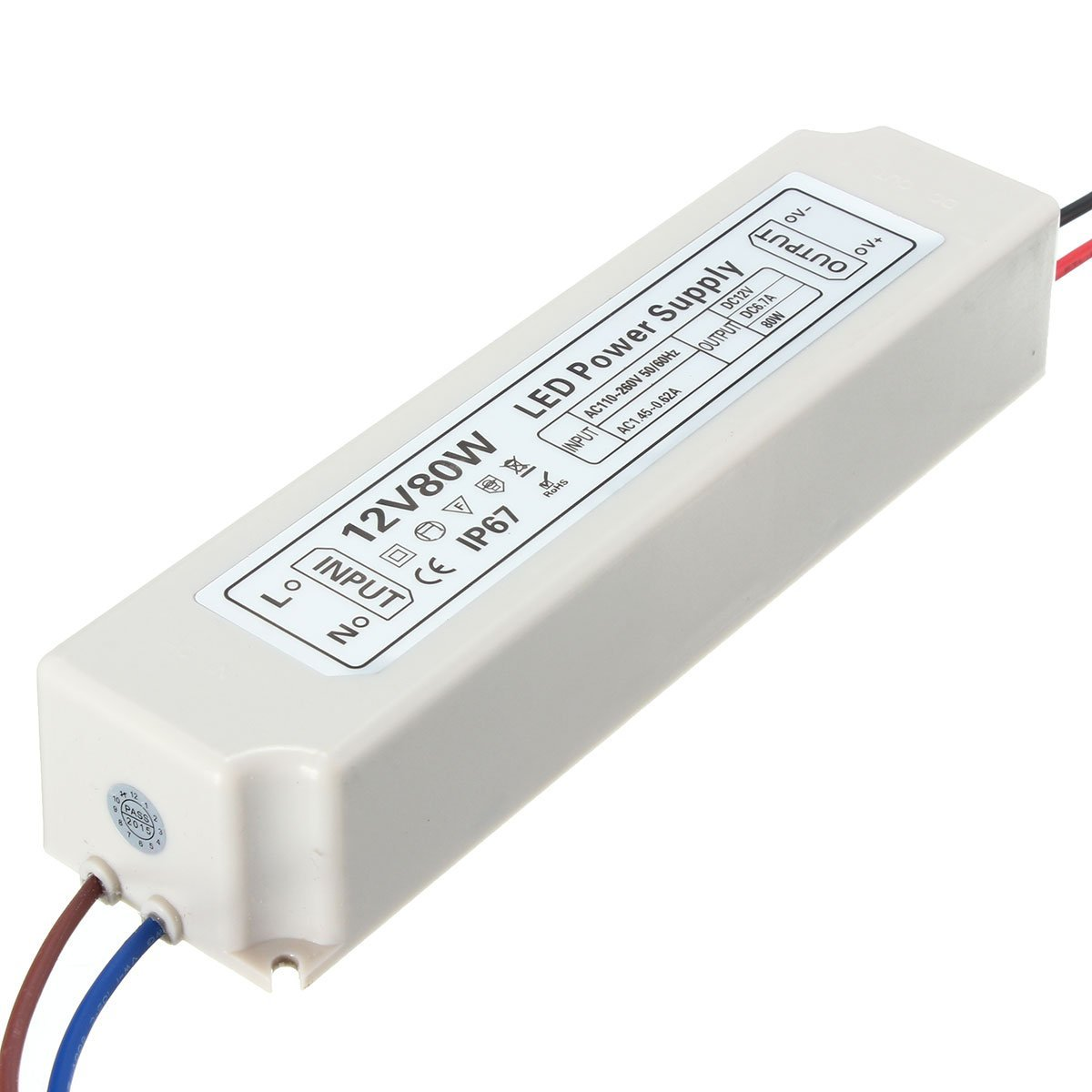 BephaMart IP67 80W AC100-264V To DC12V Switching Power Supply Driver Adapter Shipped and Sold by BephaMart
