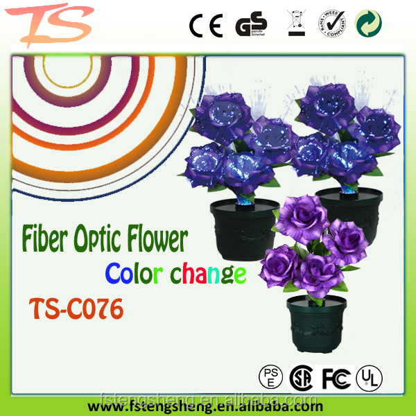Artificail Portable LED Purple Rose Flower Pot with RoHs