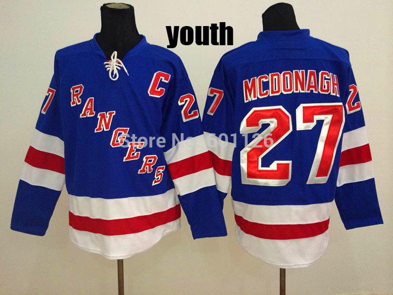 wholesale dealer 829ee 2e298 youth kids nhl jerseys new york rangers 27 ryan mcdonagh ...