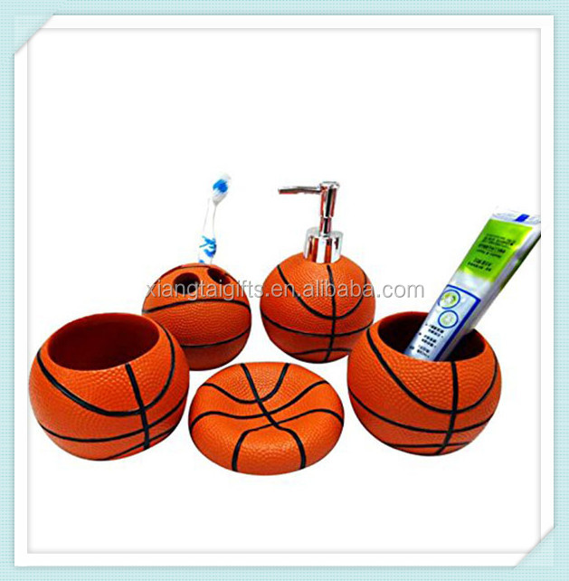 Fashionable Basketball Bathroom 5pcs Set Supplies Creative Resin Bathroom Accessories Set Kids Bath Accessories beauty home care