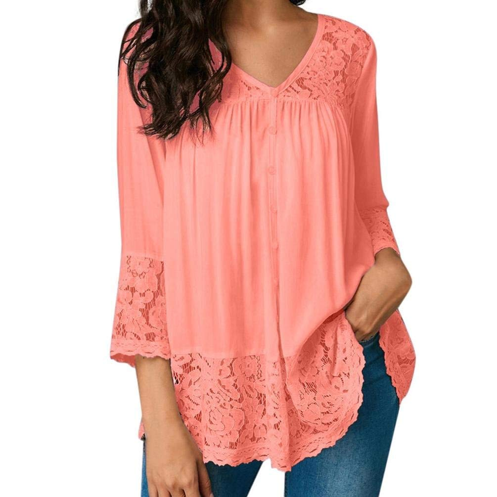 Feitengtd Women's Long Sleeve O-Neck Flowy Tunic Top Loose T-Shirts Blouse Tops (Many Color)
