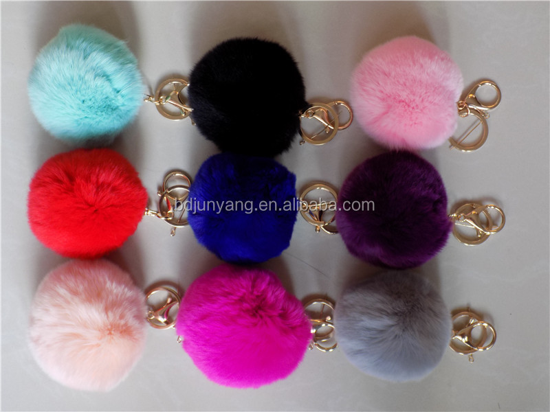 Christmas pompon bag accessories mobile phone car pendant rex rabbit fur ball