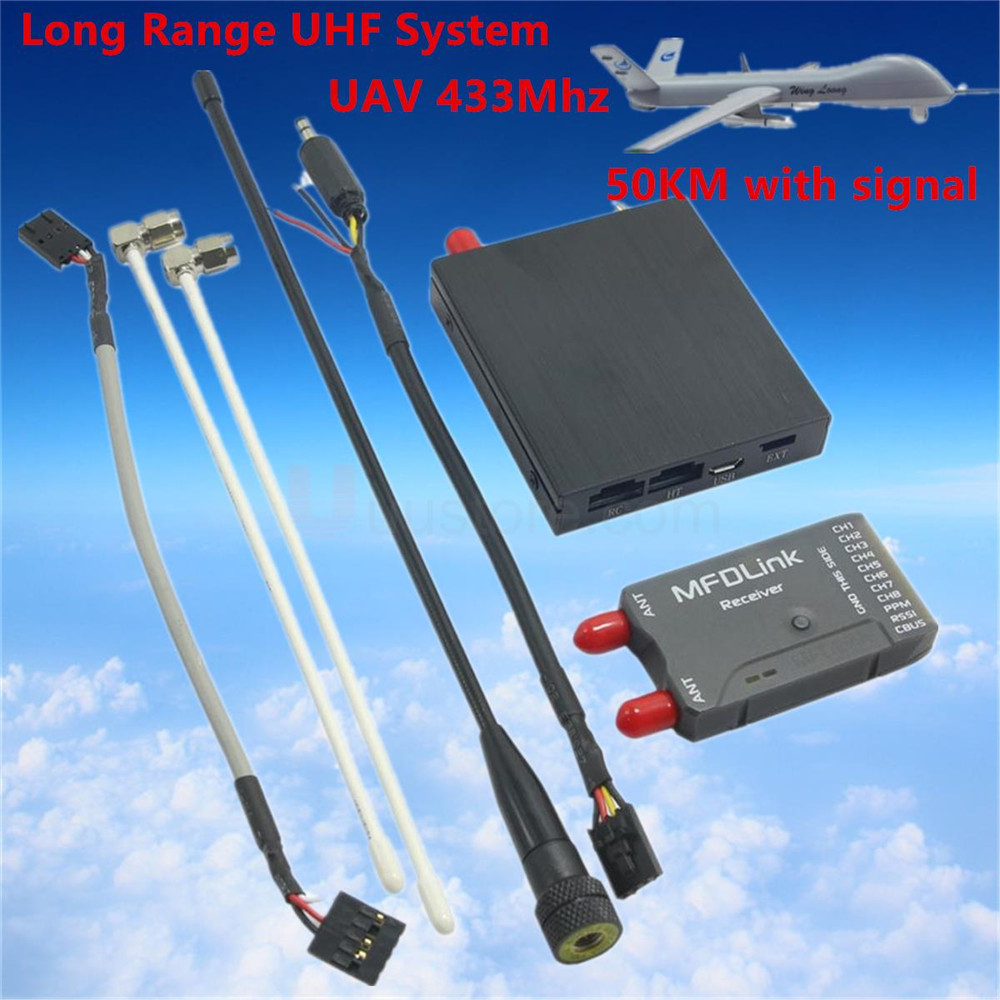 3U-80041 For high quality 50KM Long Range MFD Link Rlink 433Mhz 16CH 1W RC FPV UHF System Transmitter w/8 Channel Receiver RLINK