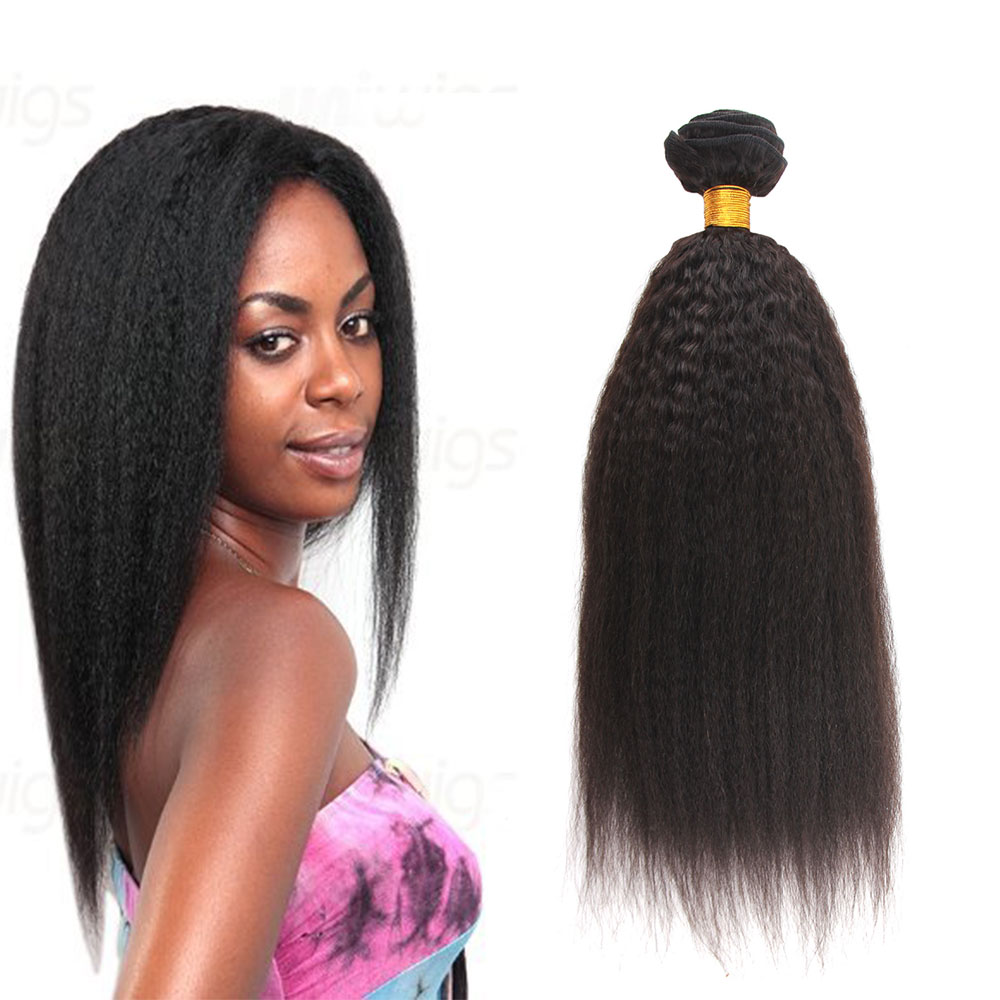 "12""-24"" Kinky Straight Remy Virgin Brazilian Human Hair Weave Natural <strong>Black</strong>"