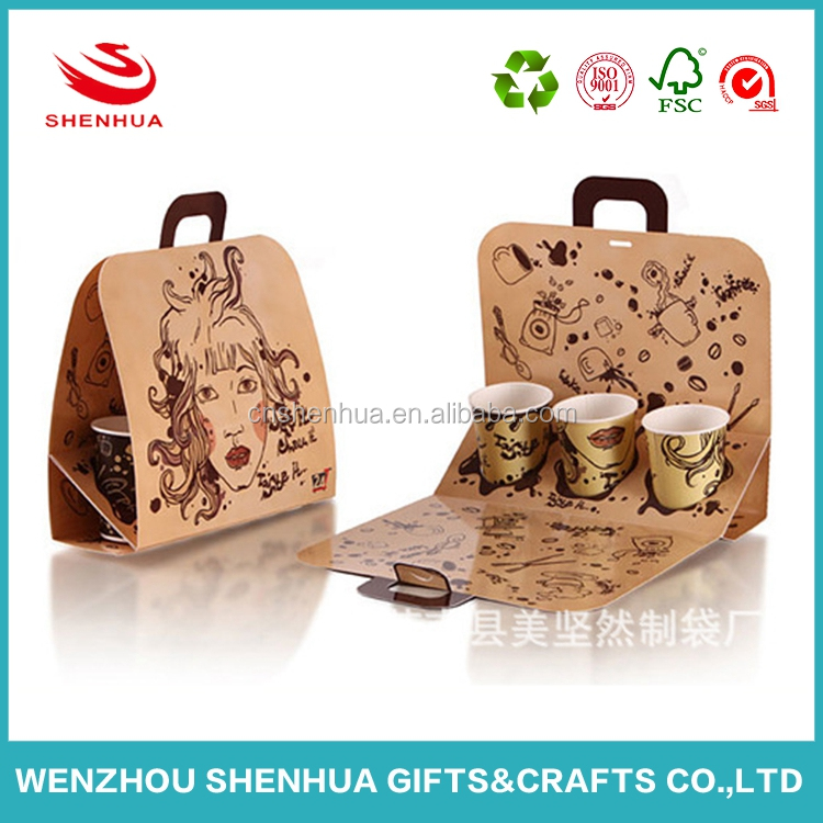 New design creative kraft paper coffee cup carrier bag for promotional