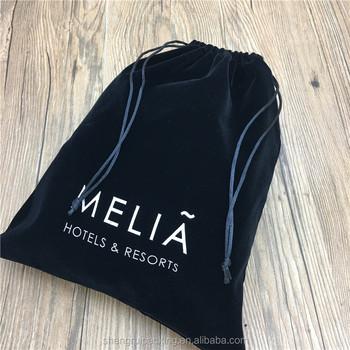 Custom Black Drawstring Velvet Hotel Hair Dryer Bag With Silk Printed