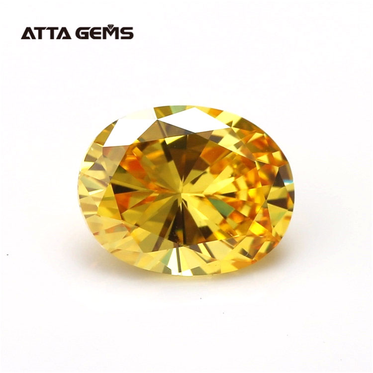 Synthetic loose gemstone yellow cubic zirconia color cz stone oval zircon