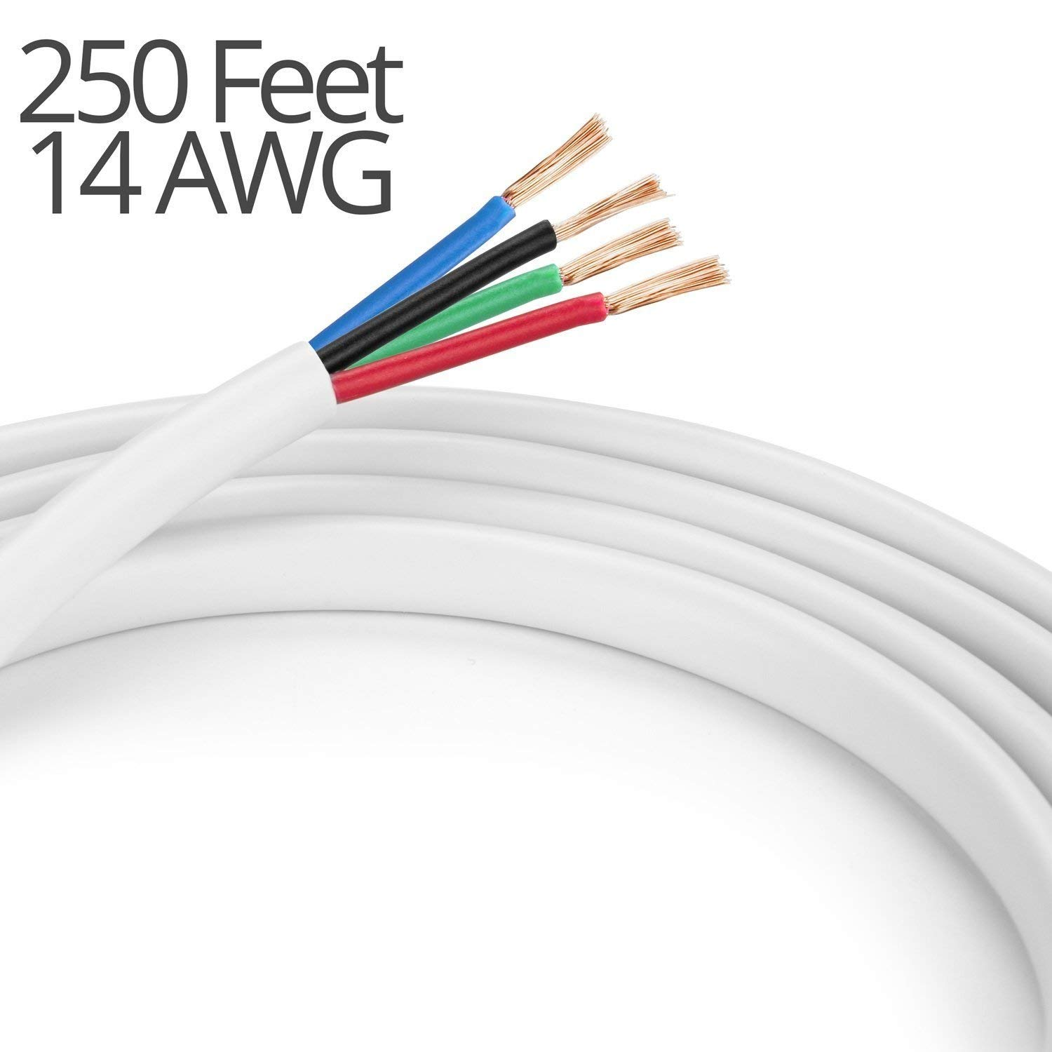 K-tech In Wall Speaker Wire 14AWG UL CL2 Rated 4-Conductor Wire White - Oxygen Free Bare Copper for Home Theater and Car Audio (4-Conductor, 250 Feet)