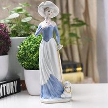 Керамические сельские женские статуэтки для девочек, домашний декор, украшение для комнаты, милые украшения, фарфоровые статуэтки, винтажн...(Китай)
