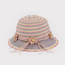Little Girl Paper Straw Striped Cloche Hat With Bowknot Flower