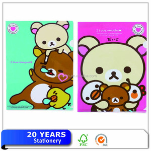 Custom plastic pp presentation a4 size L shape cartoon file folder