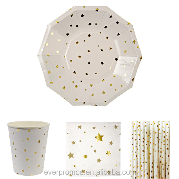 Custom Printed Disposable Wholesale Gold Star Paper Sets