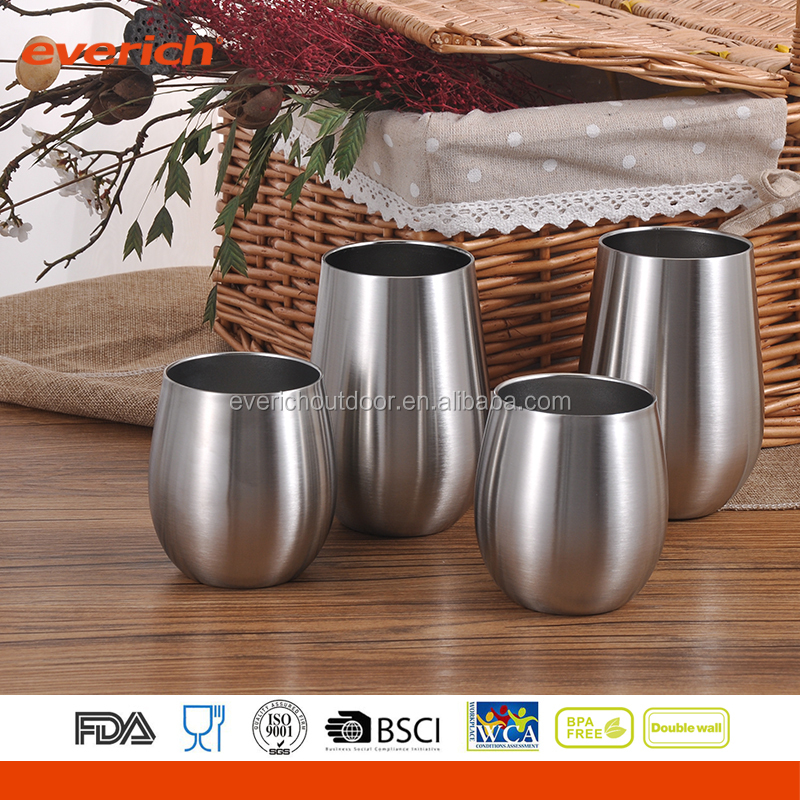 Powder Coated Insulated Vacuum Stainless Steel Metal Wine Cup With cover Lid