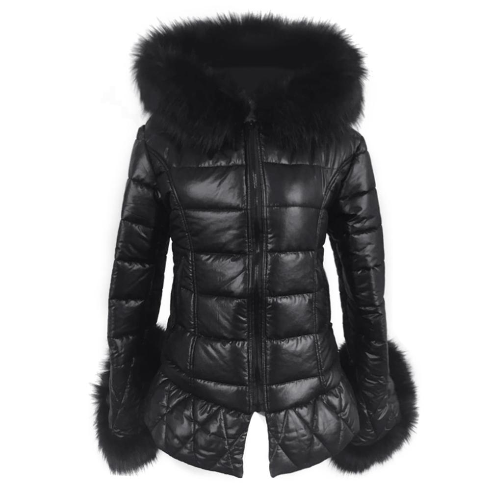 e8c3e880c8d 2019 Real Fox Fur Faux Leather Long Down Parkas Women Warm Winter ...
