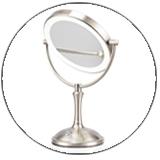 Single Side Metal Chrome Ovale Aanrecht Stand Voetstuk Cosmetische Spiegel