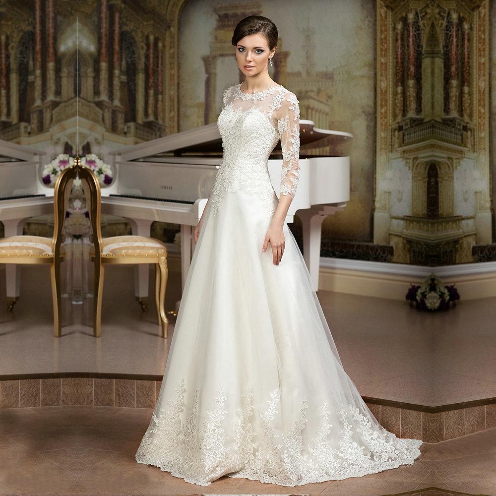 Simple Elegant Modest Lace Wedding Dress With Scallop Lace: Hot Lace 3/4 Sleeve Lace Wedding Dress, Cheap Wedding