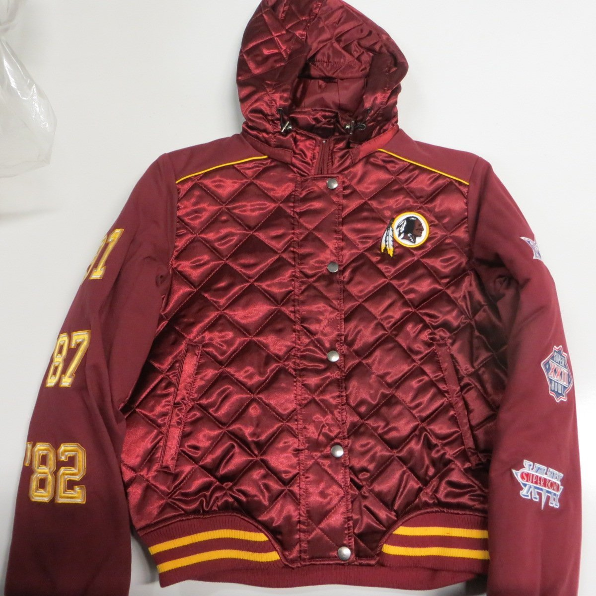 NFL Washington Redskins Womens Large Full Zip Quilted Midweight 3 Time Super Bowl Champion Jacket with Removable Hood ARDK 27 L Ham AMZ 1012