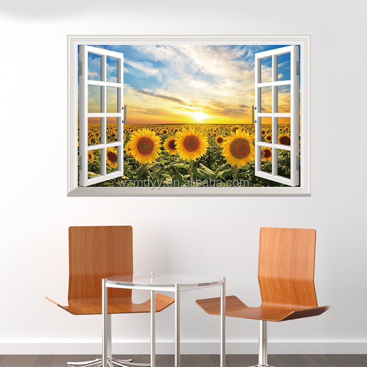 3D sunflower wall sticker/removable 3d wall decal