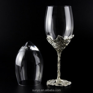 Elegant Customized Handmade Transparent Silver stem Wine Glass for Wedding Party