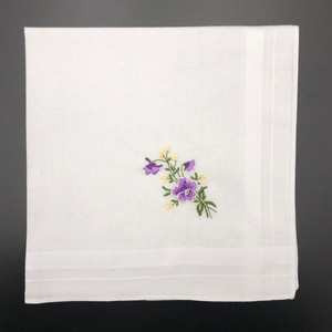 Neatpal Ladies Handkerchiefs Women's Hankies 100% Cotton Pure White Floral Embroidery Wedding Hanky gift handkerchief