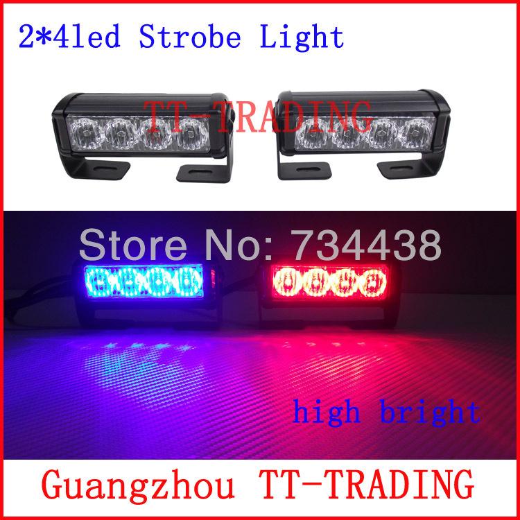 2 x 4 из светодиодов полиция стробоскопы автомобиль вспышка света автомобиля сигнальные лампы из светодиодов чрезвычайных стробоскопы DC12V красный синий белый янтарь