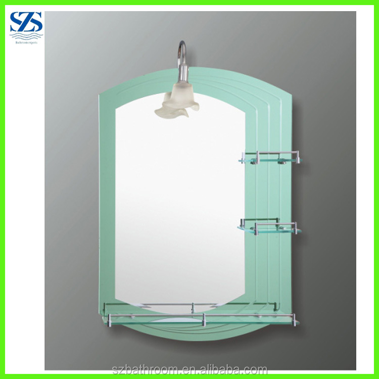 China Mirror Factory Double Layers Bathroom Smart Mirror With Shelf