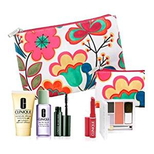 Brand New Clinique 2012 Fall 7 Pcs Gift Set: Dramatically Different Moisturizing Gel, Colour Surge Eye Shadow Duo with Soft-pressed Powder Blusher, High Impact Mascara, Take the Day Off Makeup Remover, Almost Lipstick in Fliity Honey and Two Floral Cosmetics Bags. $65 Value