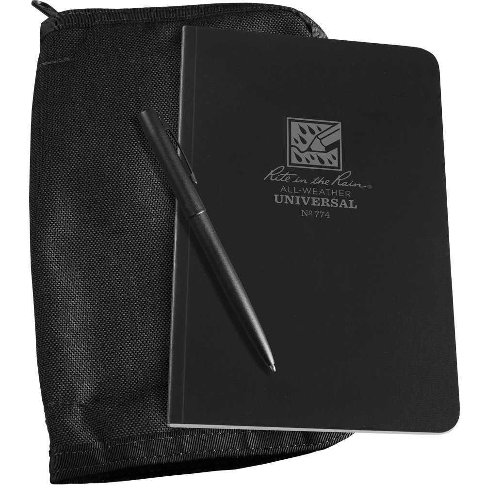 """Rite in the Rain All-Weather Bound Book Kit: Black CORDURA Fabric, 4 5/8"""" x 7 1/4"""" Black Notebook, and All-Weather Pen (No. 774B-KIT)"""