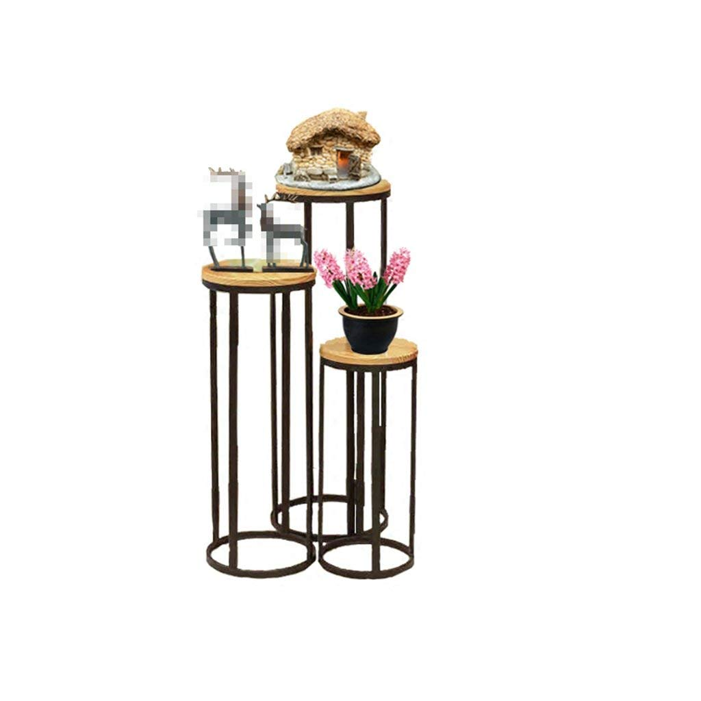 CSQ Wrought Iron Wood Flower Stand Plant Stand Shelf, Green Plant Decoration Living Room Bedroom Corridor, Three-Piece Suit (Color : Black)