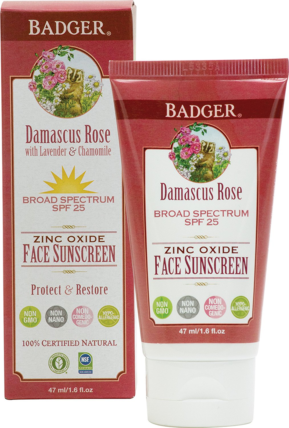 Badger Damascus Rose SPF 25 Face Sunscreen Lotion with Lavender and Chamomile - 1.6 oz Tube