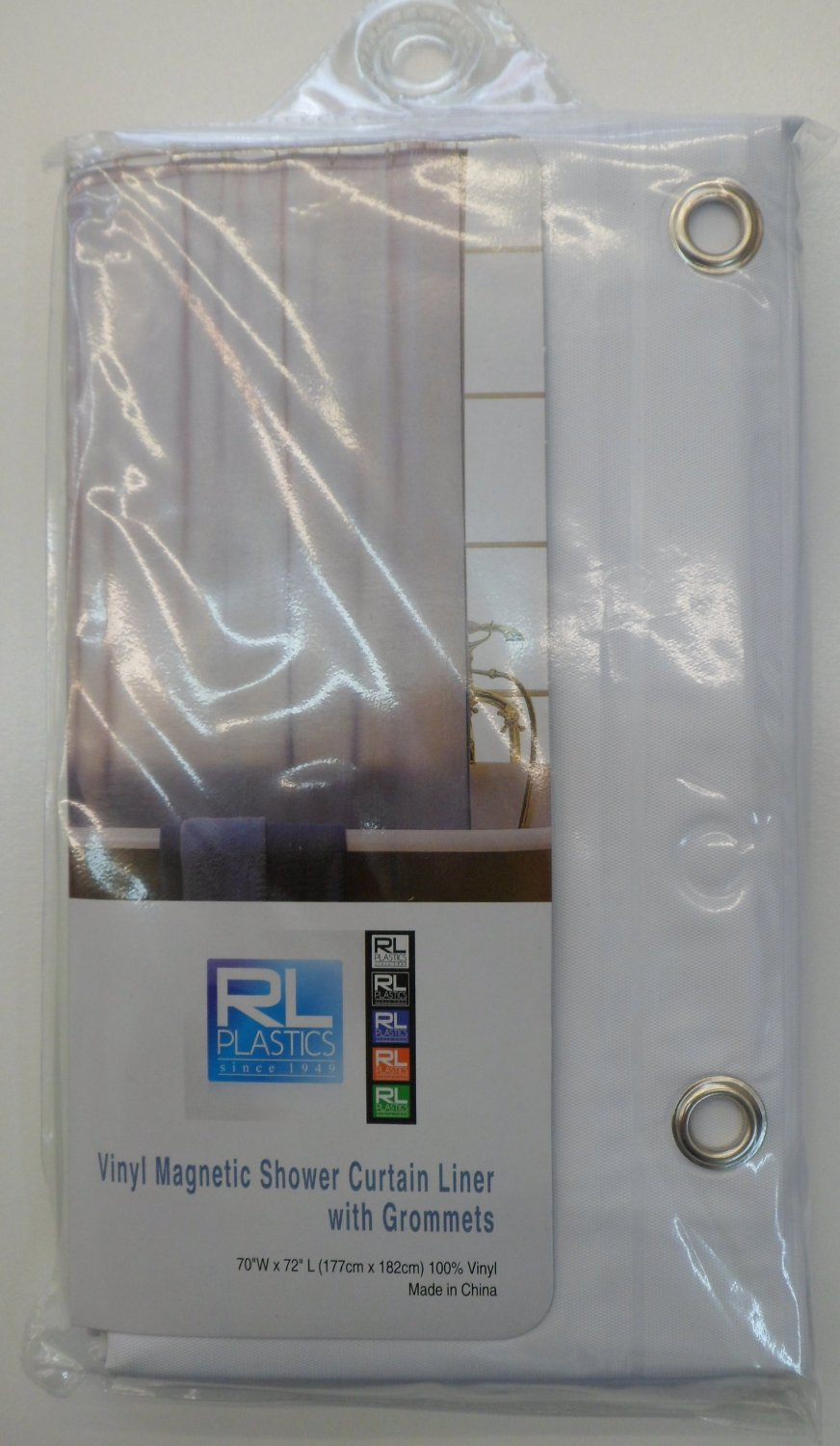 "RL Plastics 100% Vinyl White Magnetic Shower Curtain Liner with Grommets, Mildew and Water Resistant Standard Size 70"" X 72"""