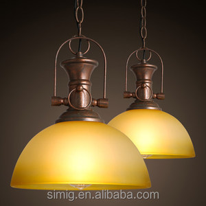 American country vintage retro lamp E27 copper color glass hemisphere lampshade pendant light