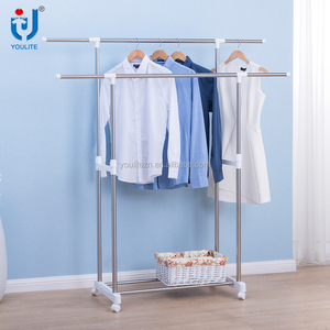 Double-pole telescopic hanging clothes rack with wheels